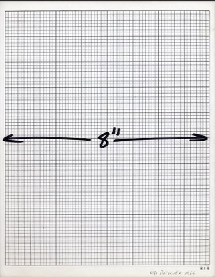 "Mel Bochner. 8"" Measurement, 1969. ink on graph paper / 11 x 8.5 inches"